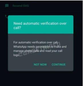 WhatsApp Flash Call feature